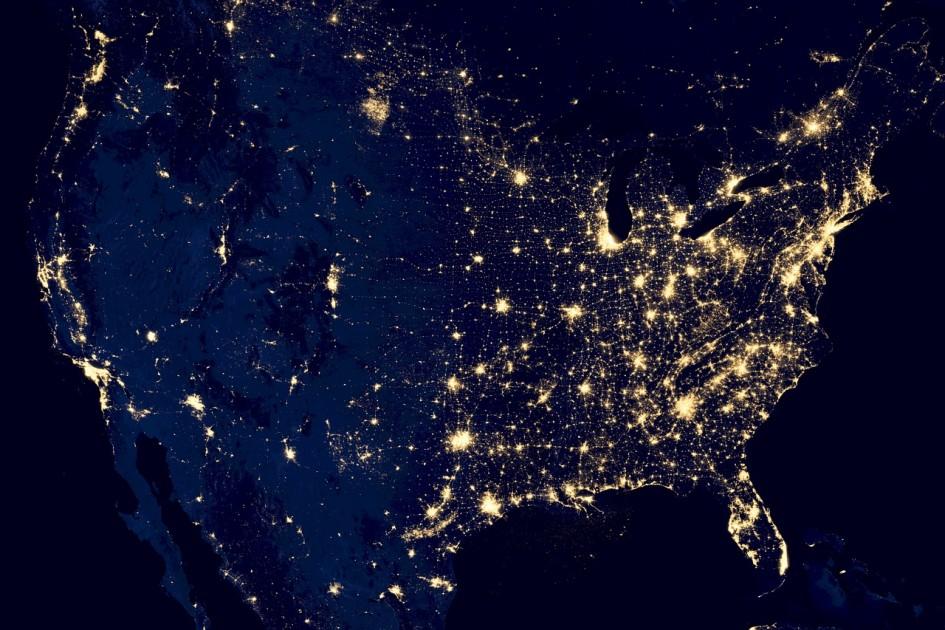 USA Vogelperspektive bei Nacht