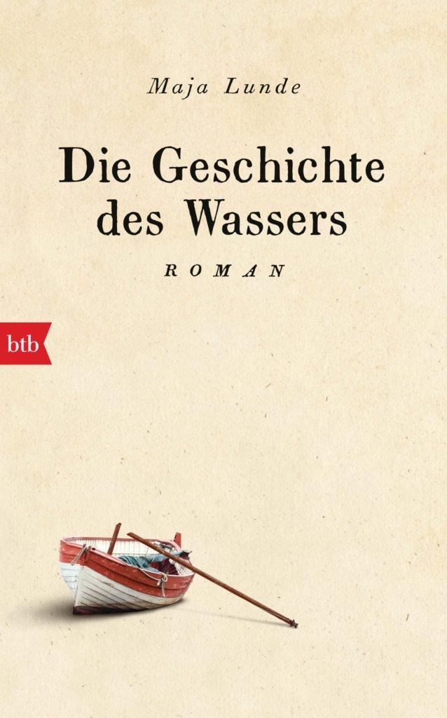 Cover von Die Geschichte des Wassers beige mit Ruderboot untern links